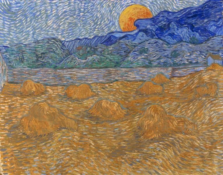 Wheat sheaves and rising moon, Van Gogh