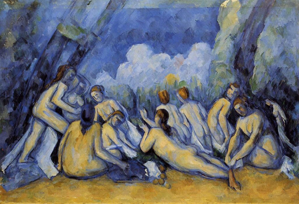 In the painting Large Bathers (1900) by Paul Cézanne, we see eleven female nude figures bathing. The painting consists of a lot of blue clor and its tones.