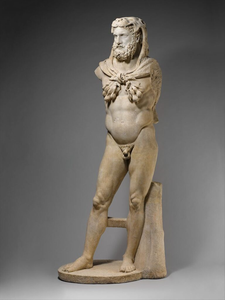 This is an ancient marble sculpture of a bearded Hercules from 68-98 CE. It is displayed at The Met Museum in New York.