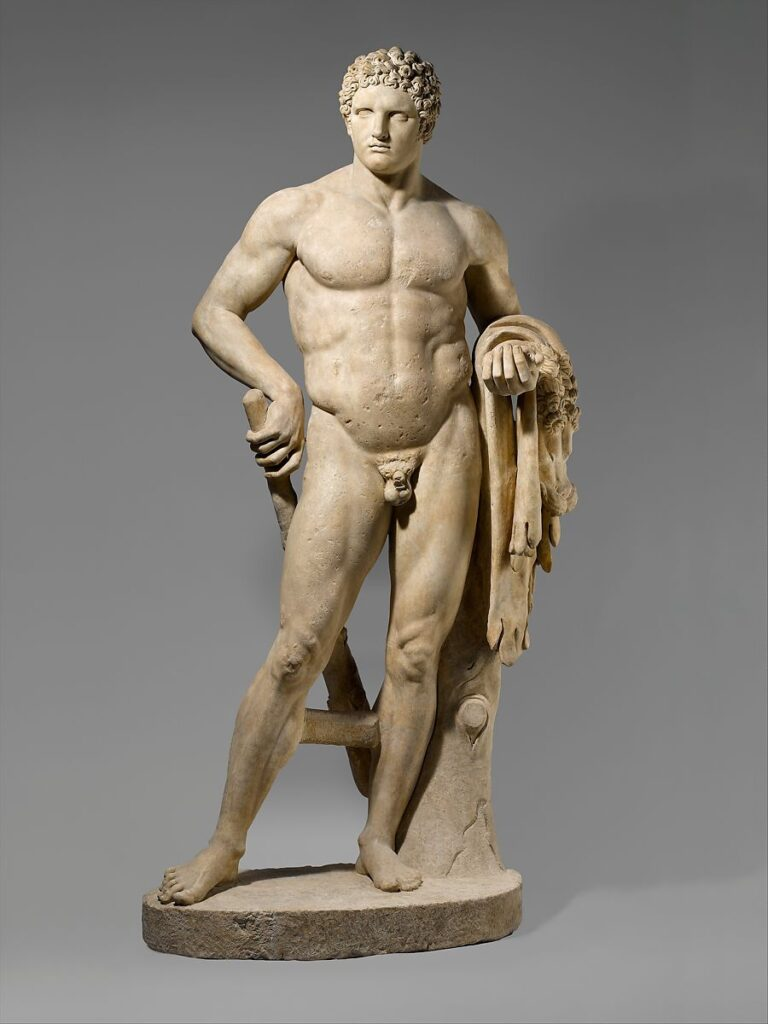 This is an ancient marble sculpture of a youthful Hercules from 69–96 CE. It is displayed at The Met Museum in New York.