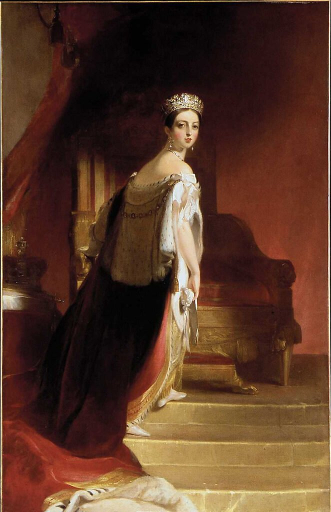 Royal portrait of an elegant, young Queen Victoria approaching her throne. Thomas Sully, Queen Victoria