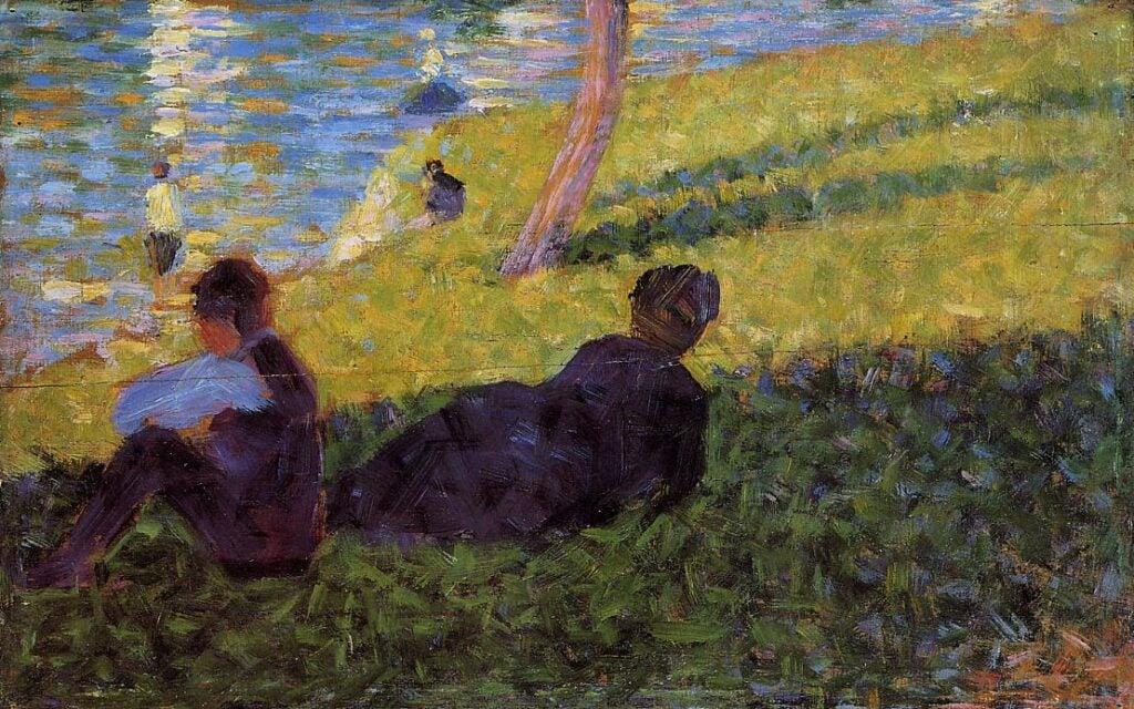 """The painting Study for """"Un dimanche après midi à l'île de la Grande Jatte"""" by Georges Seurat (1884). It depicts two female figures laying on the grass near river."""