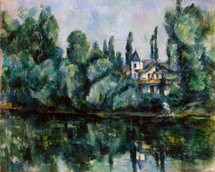 In the painting The Banks of the Marne (1888) Paul Cézanne depicts riverside house surrounded by trees.