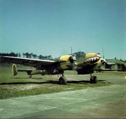 A color photo of a Messerschmidt Bf 110 warming up for takeoff.