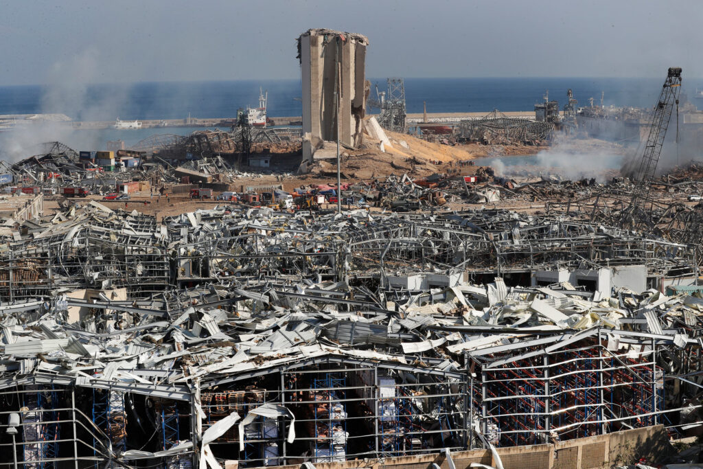 Photograph of Beirut's port after the explosion, showing devastation of the port district, which contained much of Beirut's art scene.