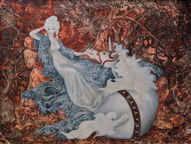 Female artist self-portraits: Remedios Varo Uranga, Self-portrait with Unicorn