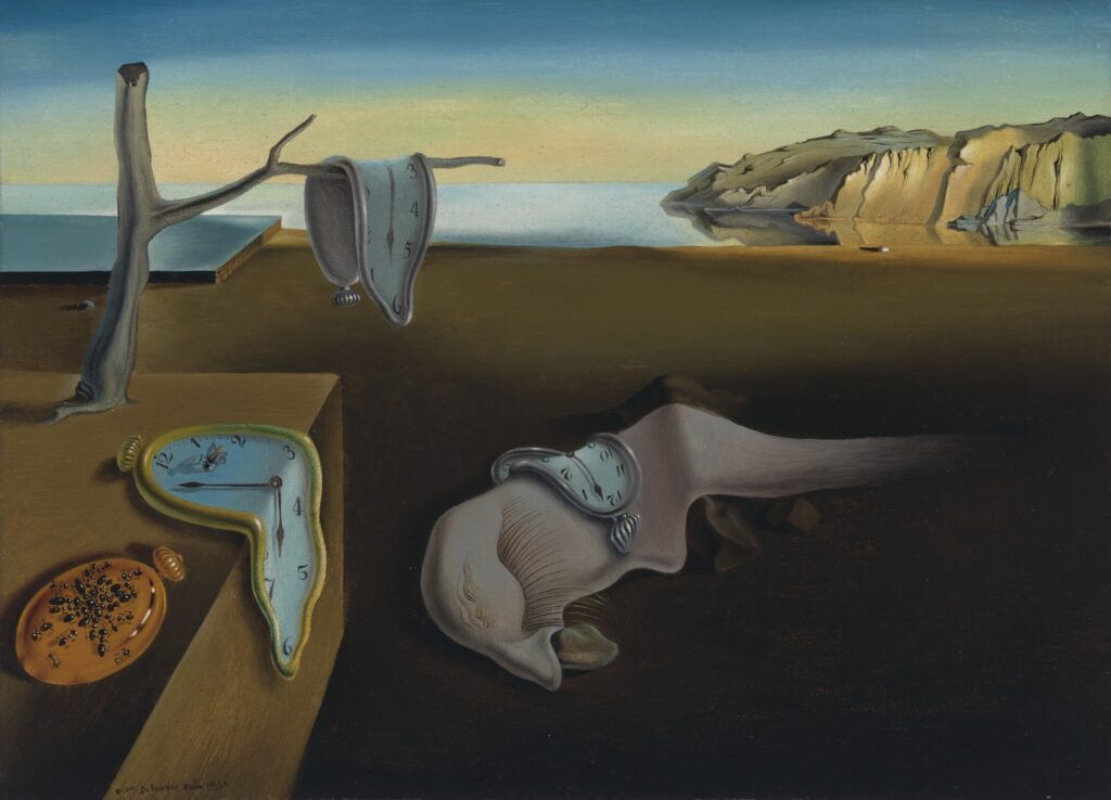 Art History 101: Salvador Dalí, The Persistence of Memory The Persistence of Memory by Salvador Dali, distorted clocks on a beach
