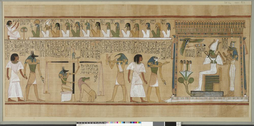 Art History 101: Book of the Dead of Hunefer, Egyptian painting on papyrus, Hunefer appearing before Osiris