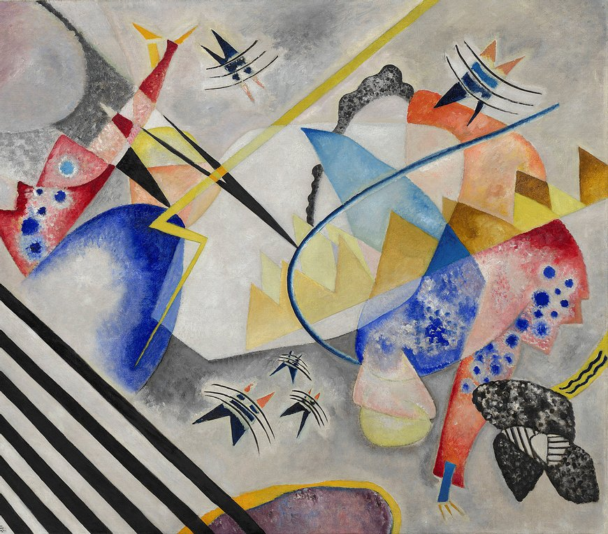 Art History 101: Wassily Kandinsky, White CenterAbstract painting by Wassily Kandinsky, colorful geometric elements on a white background