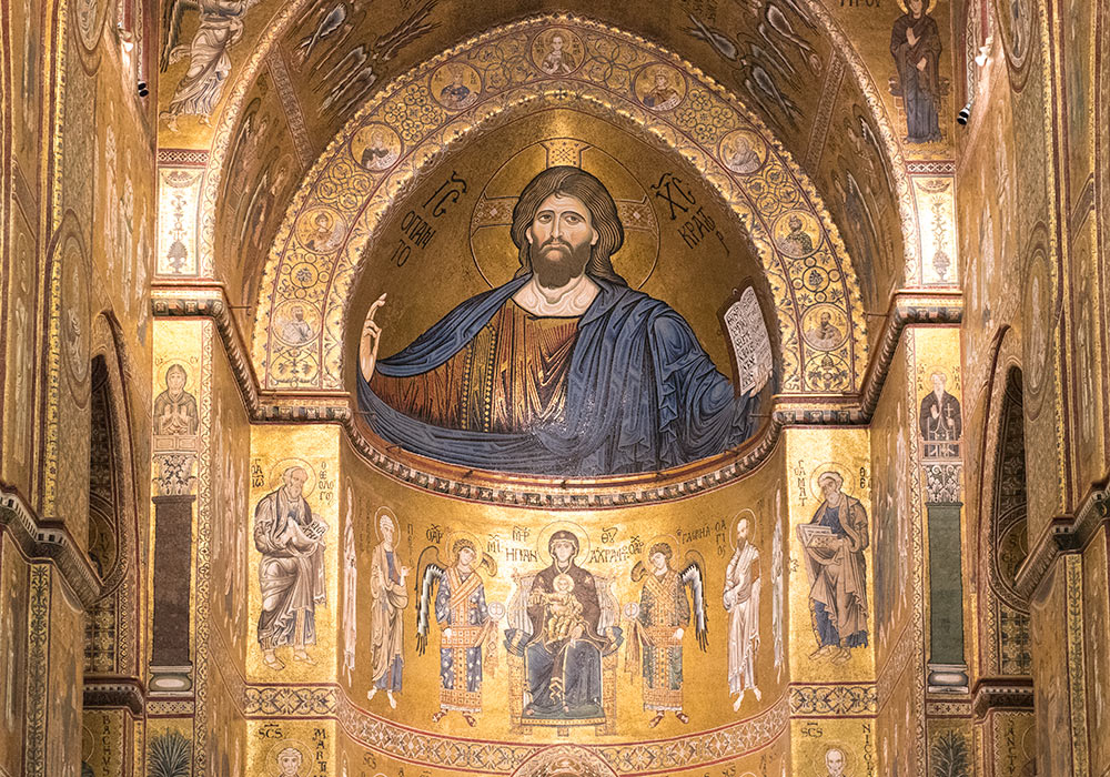 Art History 101: Christ Pantocrator, with virgin, child, and saints. Gold mosaics at the Cathedral of Monreale, in Sicily, Italy