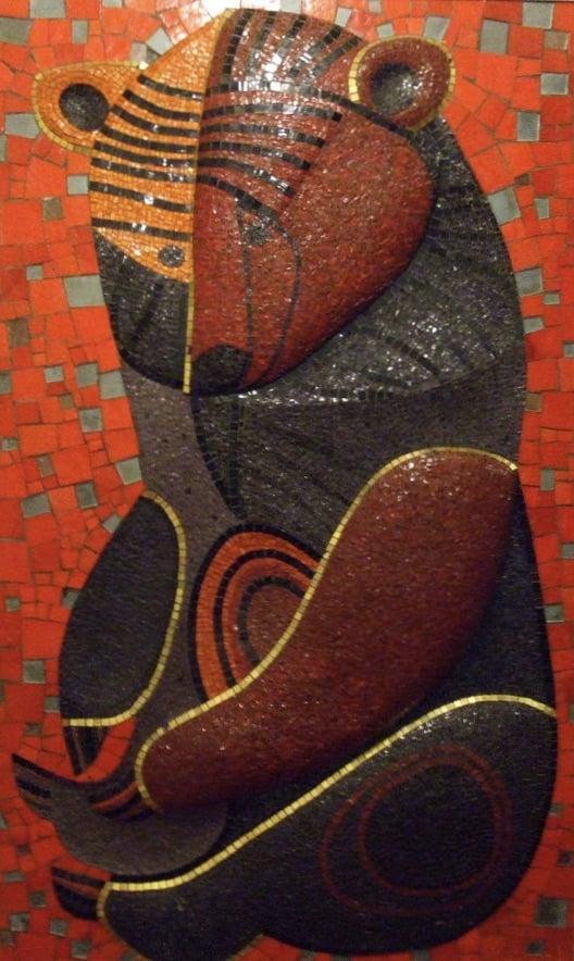 Jeanne Mount, Bear Mosaic, 1969, Blackpool Tower, Blackpool, England, UK.