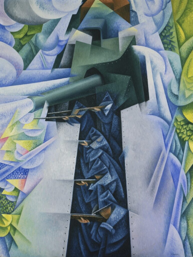 Art History 101: Gino Severini, Armored Train in Action. Soldiers inside an armored train, Futurism, painting by Gino Severini