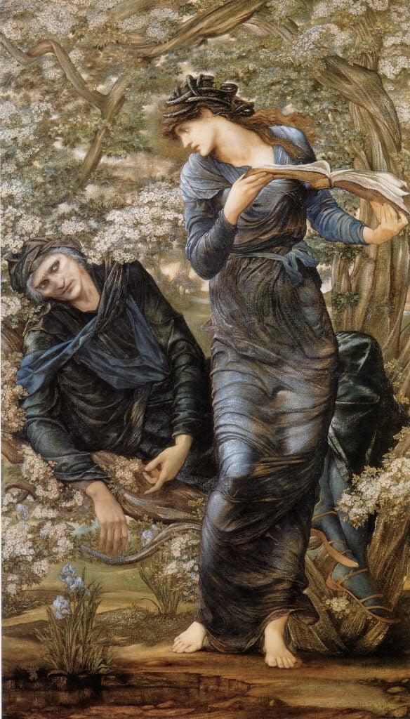 mythological Symbolism: Edward Burne-Jones, The Beguiling of Merlin, 1872-1877, Lady Lever Art Gallery, Port Sunlight, UK.
