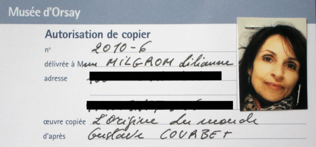 The Origin of the world: Author's Copyist License, Musee d'Orsay