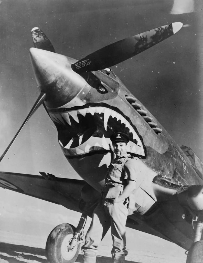 The RAF 112 Squadron's Curtiss P-40 Tomahawk aircraft with the shark mouth nose art, July 1941.