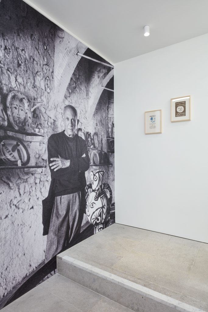 Photograph of Picasso in his Cannes studio Atelier Picasso, BASTIAN gallery