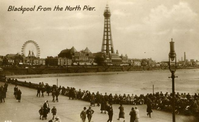 General view of old Blackpool, vintage postcard