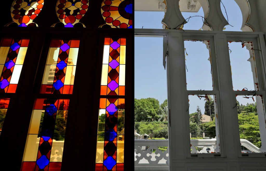 Beirut's Art Scene: Side by side photos of the stained glass windows at the Sursock Museum. Left shows them intact, right shows them destroyed by the blast.
