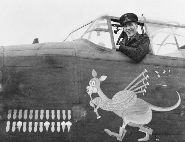 "Avro Lancaster ""Leader"" with Kangaroo Nose Art, 460th Squadron, RAF Bomber Command, 1943."