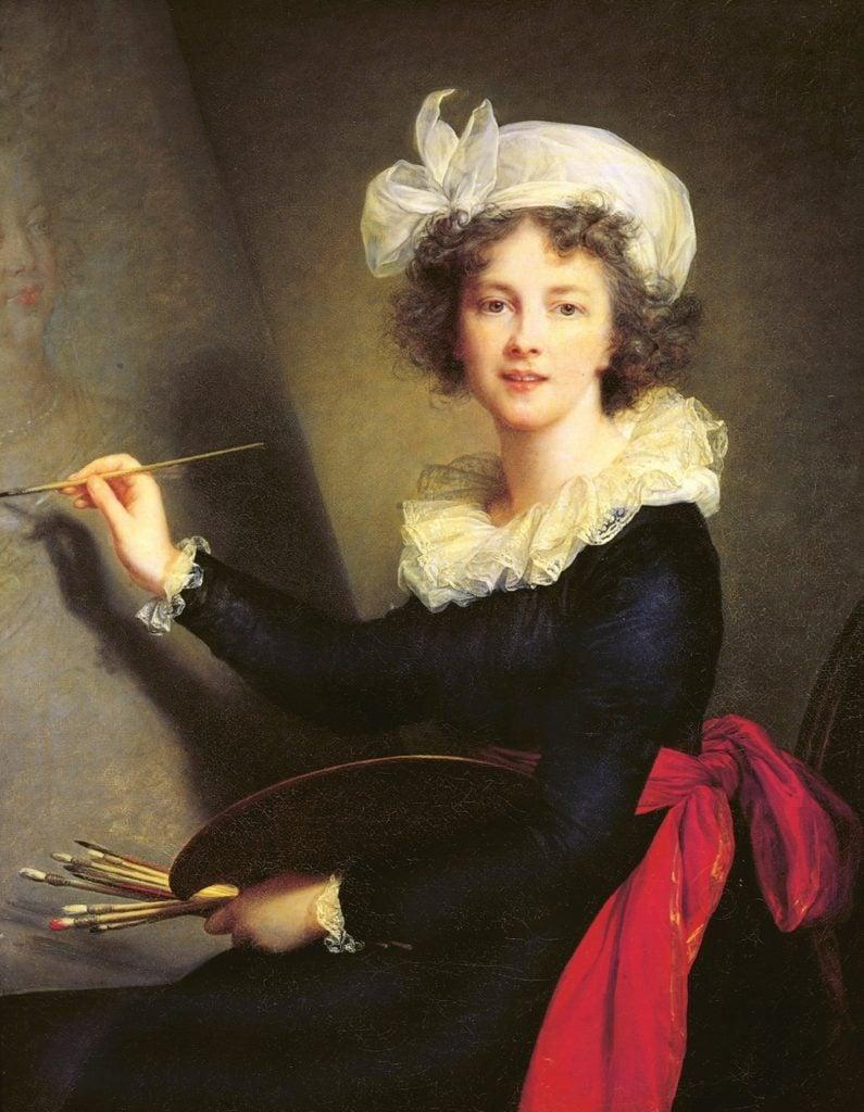 Female artist self-portraits: Élisabeth Louise Vigée-LeBrun painted her self-portrait in 1790.