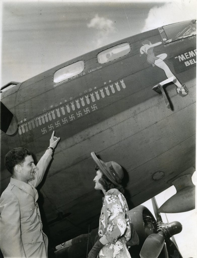 Margaret Polk with Robert Morgan in front of the Memphis Belle. Source: National Museum of the USAF.