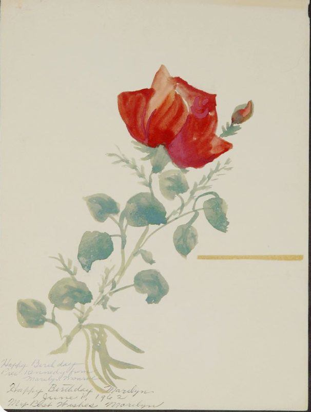 Marilyn Monroe, Untitled (watercolor rose painting), 1962, private collection. pinterest.com