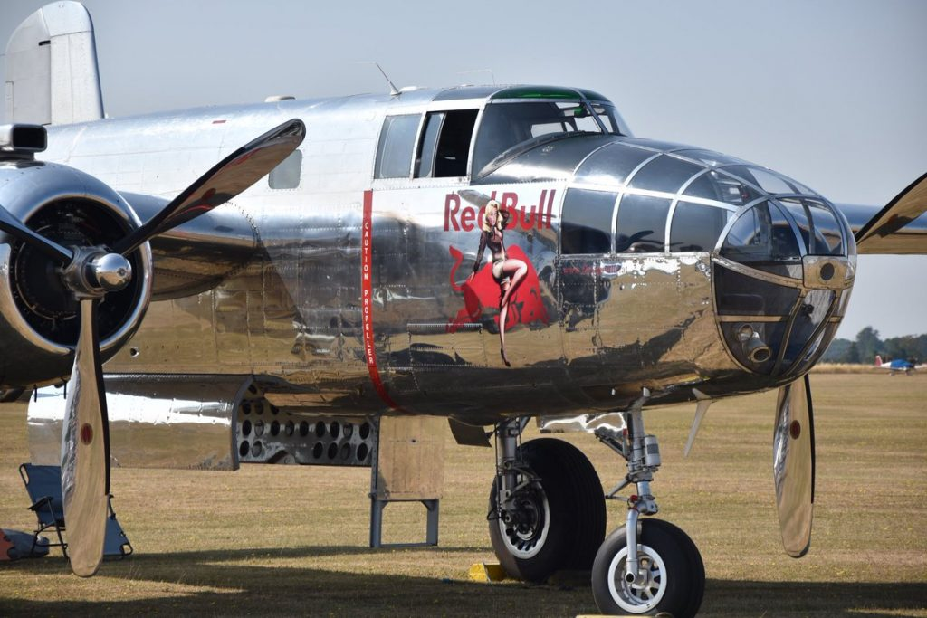 Red Bull Flying Bulls North American B-25J Mitchell with Pinup Nose Art