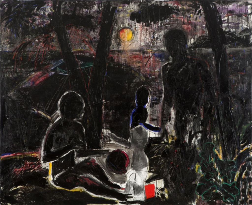 Beirut's Art Scene: Image of a painting from Abed Al Kadiri's series, Remains of the Last Rose, showing what looks like a family in a jungle-like setting.