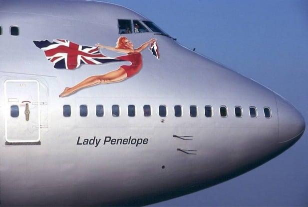 "Virgin Atlantic Boeing 747 jumbo jet with ""Lady Penelope"" Nose Art."