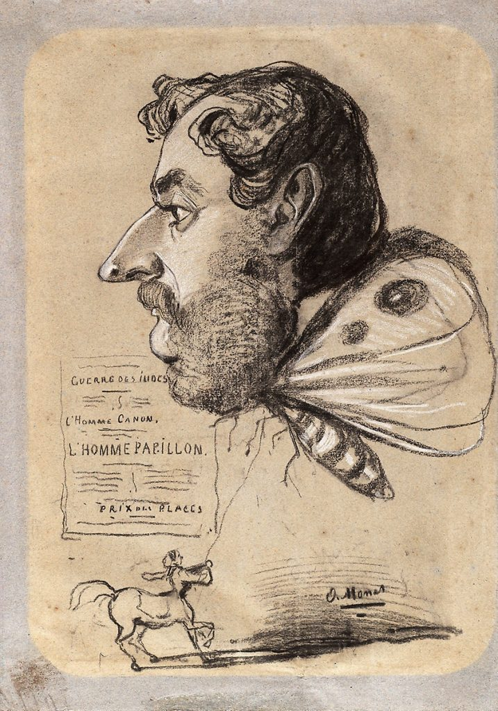 Claude Monet, Caricature of Jules Didier (Butterfly Man), c. 1858, chalk on paper, Art Institute Chicago.