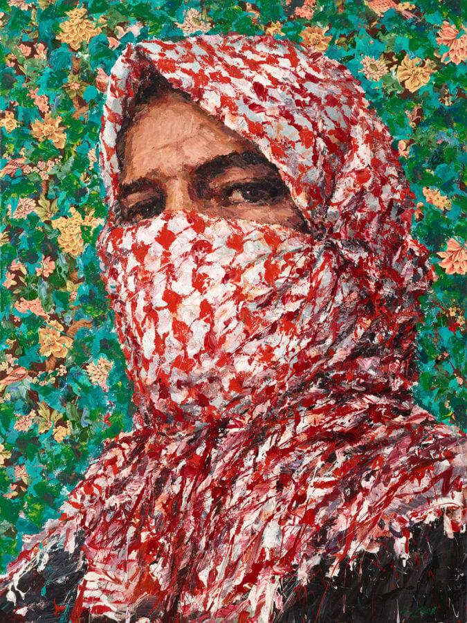 Beirut's Art Scene: Portrait by Lebanese artist showing a vibrantly patterned portrait of a figure wearing a head scarf.