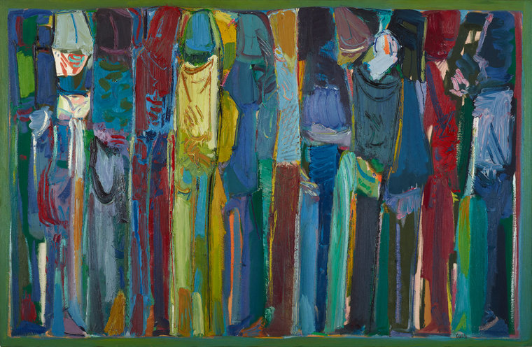 Beirut's Art Scene: Painting by Lebanese artist, Paul Guiragossian showing a rhythmic and colorful lineup of figures.