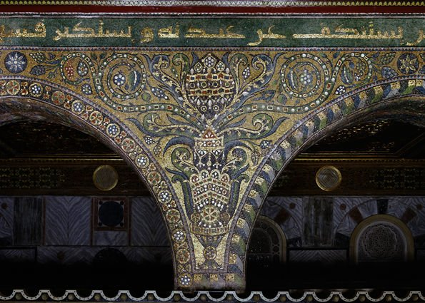 islamic mosaics panorama Detail of the interior mosaics from Dome of the Rock, Jerusalem, Israel.
