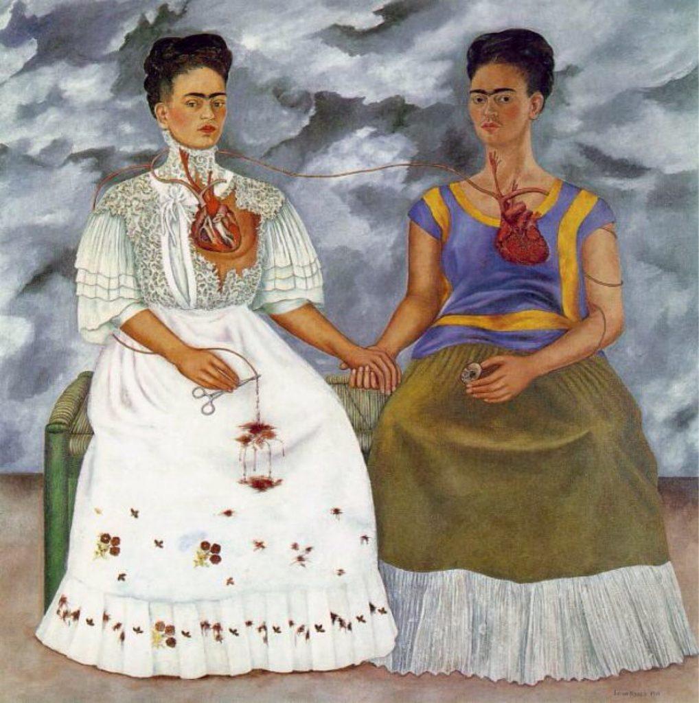 Self-portraits to know: Frida Kahlo, The Two Fridas, 1939, Museo de Arte Moderno, Mexico City, Mexico. Wikipedia.