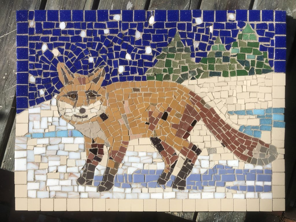 Alison Pierse, Fox mosaic being grouted.