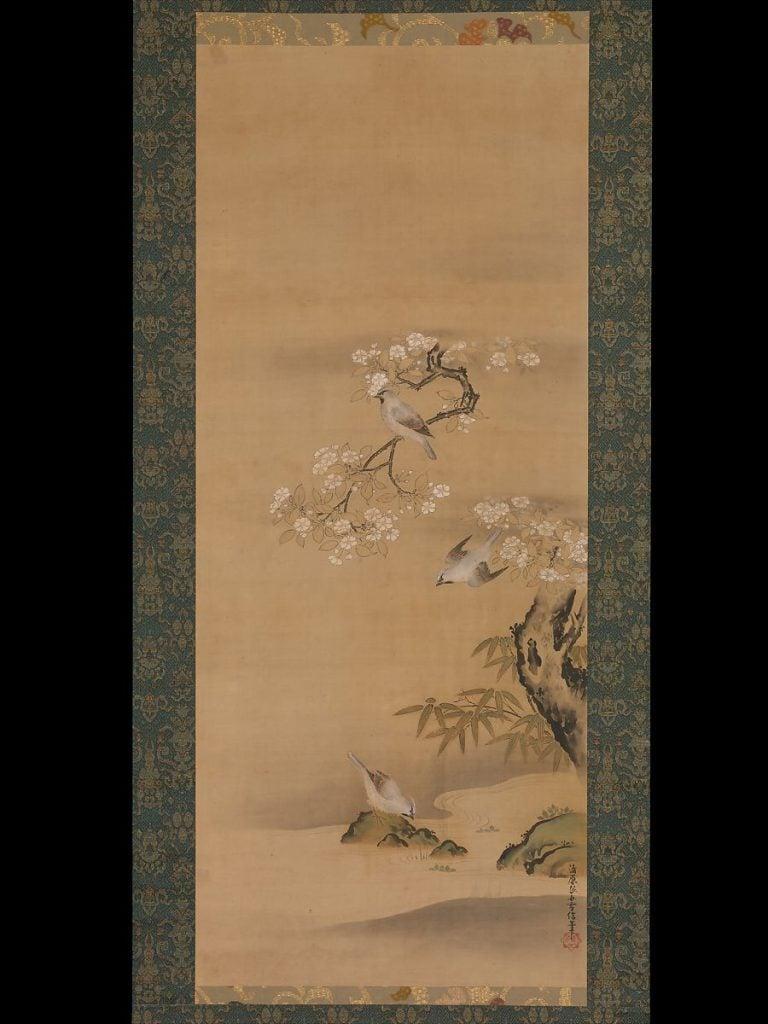 Kiyohara Yukinobu, Waxwings, Cherry Blossoms and Bamboo by a Stream