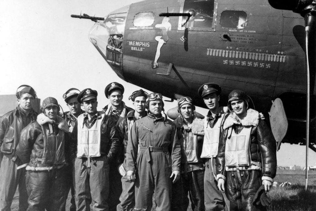 "The crew of the ""Memphis Belle"" (left to right) Harold Loch (Top Turret), Cecil Scott (Ball Turret), Robert Hanson (Radio), Jim Vernis (Co-Pilot), Robert Morgan (Pilot), Chuck Leighton (Navigator), John Quinlan (Tail Gun), Tony Nastal (Right Waist), Vince Evans (Bombardier)Bill Winchell (Left Waist). (National Archives)."