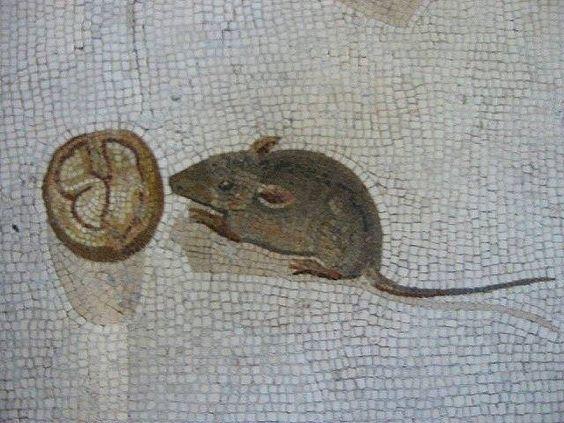 etail of mouse with walnut, from the Asarotos Oikos mosaic
