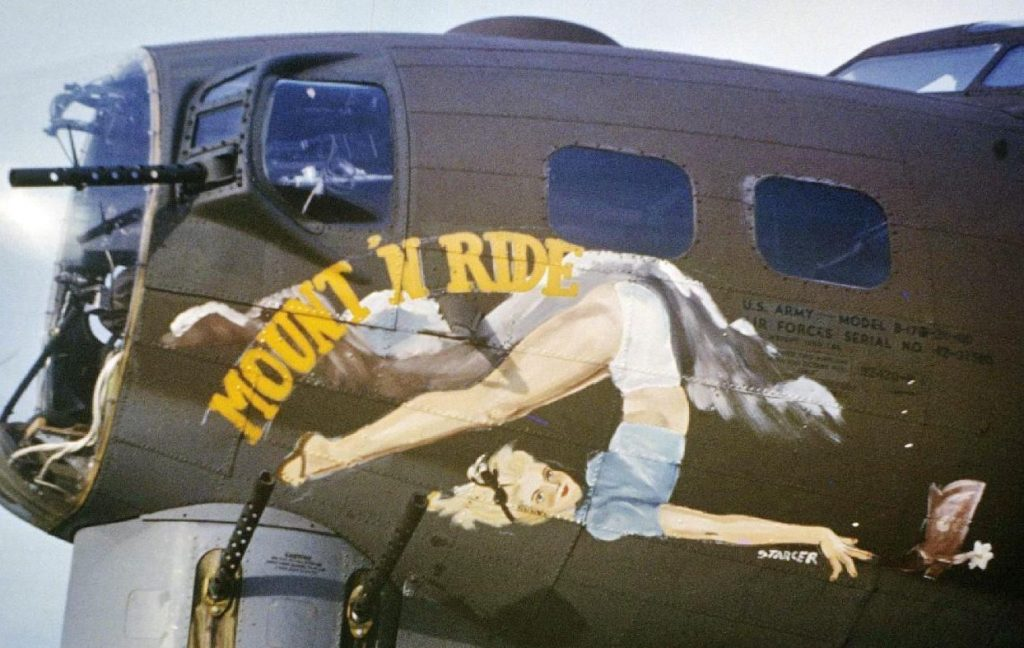 """The nose art of a B-17 Flying Fortress nicknamed """"Mount 'N Ride"""" of the 323 Bomb Squadron. Image by William D """"Bill"""" Pulliam, www.americanairmuseum.com."""