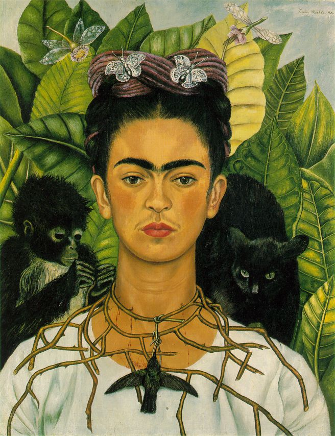 Female Artist Self-Portraits: Frida Kahlo painted a huge number of self-portraits during her career. Frida Kahlo, Self-Portrait with Thorn Necklace and Hummingbird,