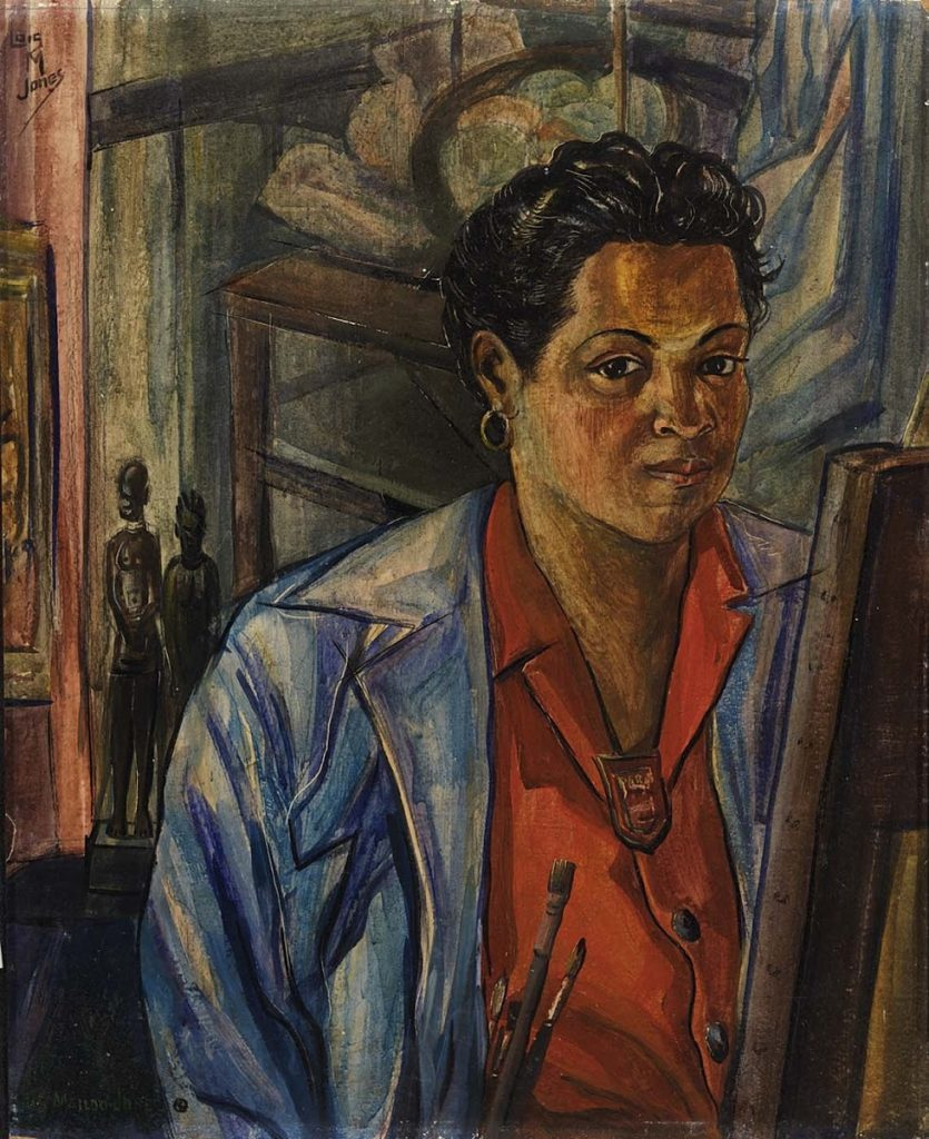 Female artist self-portraits: Lois Mailou Jones, greatly influenced by her African roots, painted her self-portrait in 1940.