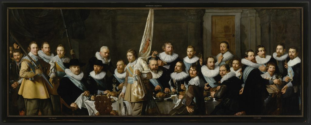 Nicolaes Eliasz. Pickenoy, Banquet of civic guardsmen from the company of captain Jacob Backer and lieutenant Jacob Rogh