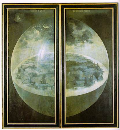 The outer panels of Bosch's triptych The Garden of Earthly Delights, showing the beginnings of creation.