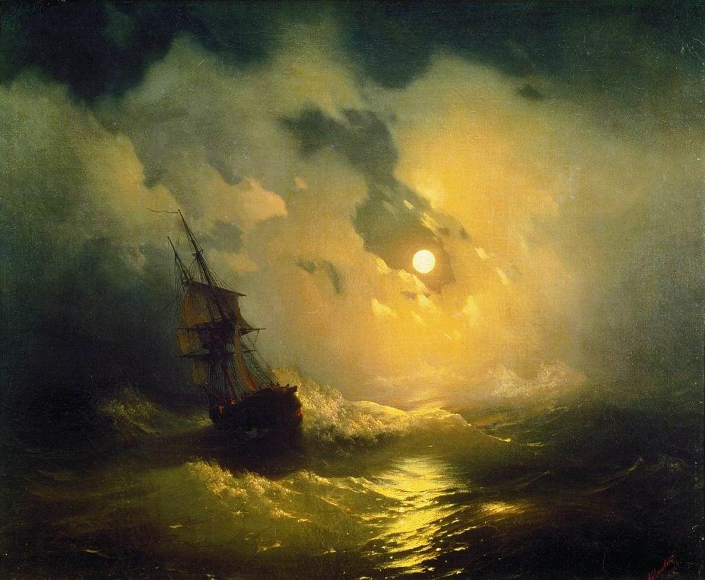 Ivan Aivazovsky, Stormy sea at night