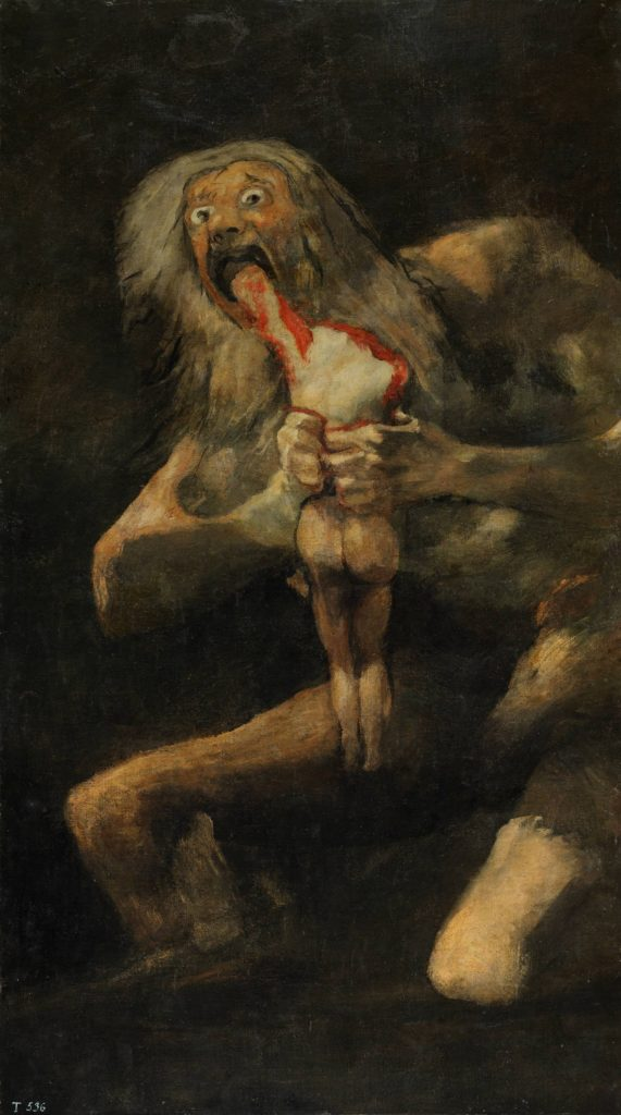 10 Most Scary Paintings: Francisco Goya, Saturn Devouring His Son. Saturn is represented as a desperate giant old man with long white hair, with his eyes out of their orbits, eating his son with a marked expressiveness in his face that emulates madness. The scene denotes a strong violence, which can be seen in the mutilated and bloody body of the son, a victim of cannibalism.