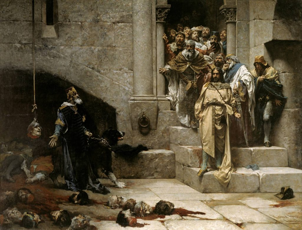 10 Most Scary Paintings: José Casado del Alisal, The Legend of the Monk King. King Ramiro II of Aragon in front of the nobles shows with one hand the severed heads. One head hanging of a rope as a bell, while the others are scattered on the ground.