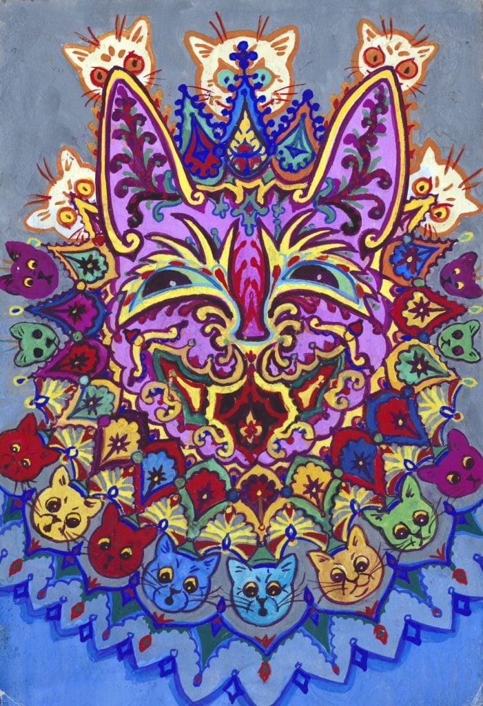 Louis Wain, abstract cat drawing
