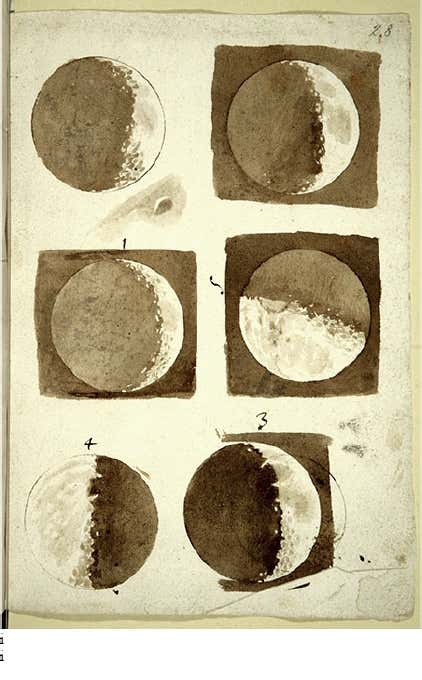 Galileo and the Moon in Art:Galileo Galilei, Moon phase sketches from Sidereus Nuncius (The Starry Messenger),