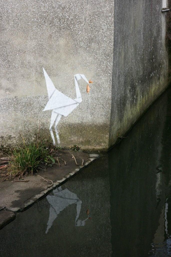 Banksy city guide 2021: Banksy, Origami-crane, 2012