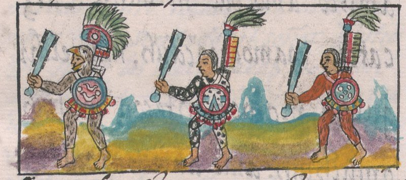 Eagle knight leading two other Aztec warriors, from Florentine Codex,